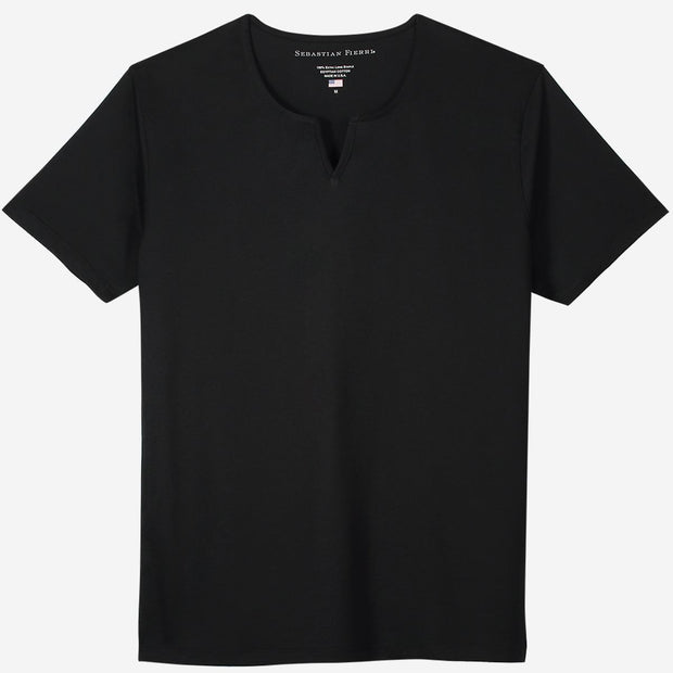 Fierri Egyptian Cotton Slit V Black T-shirt