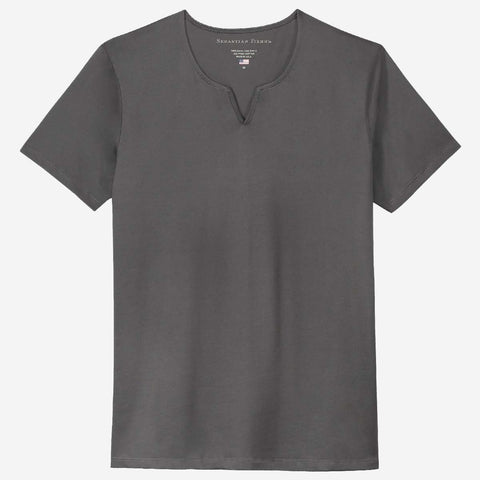 Fierri Egyptian Cotton Slit V Dark Grey T-shirt