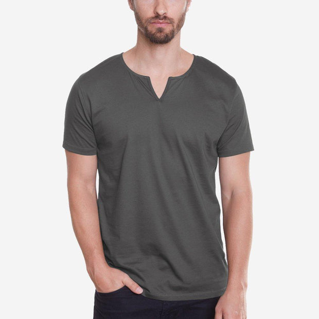 Egyptian Cotton Slit V Dark Grey Short Sleeve T-shirt