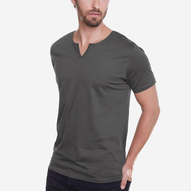 Egyptian Cotton Slit V Dark Grey T-shirt Relaxed