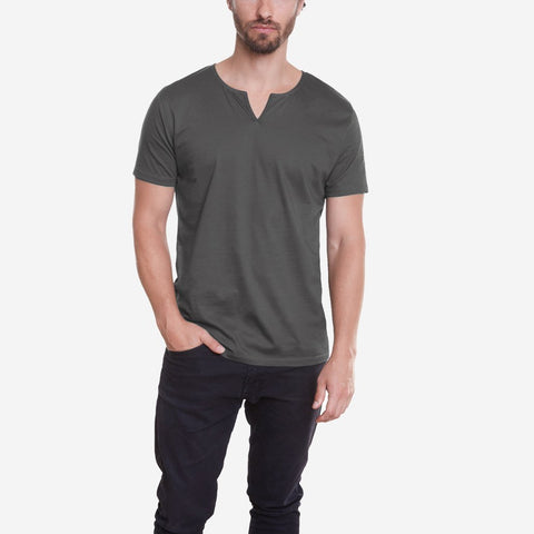Egyptian Cotton Slit V Dark Grey Tee