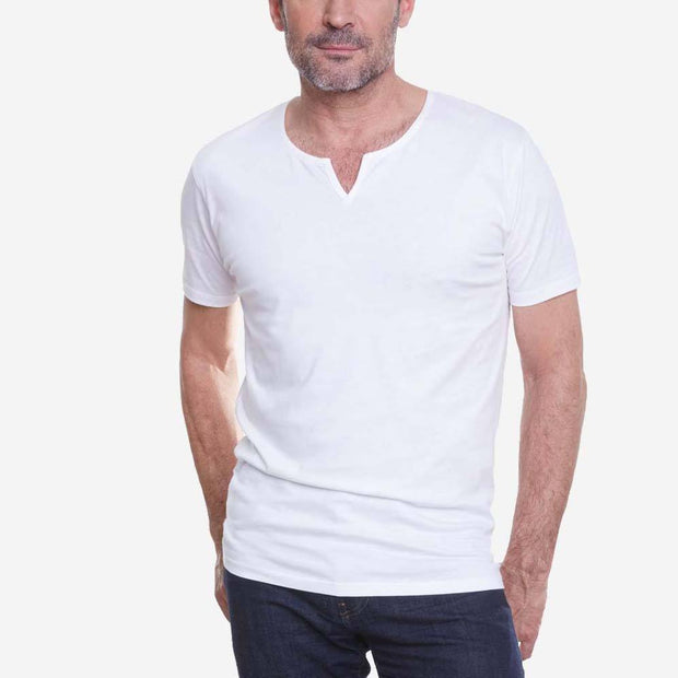 Egyptian Cotton Slit V White Short Sleeve T shirt