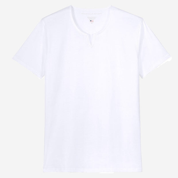 Fierri Egyptian Cotton Slit V White T-shirt
