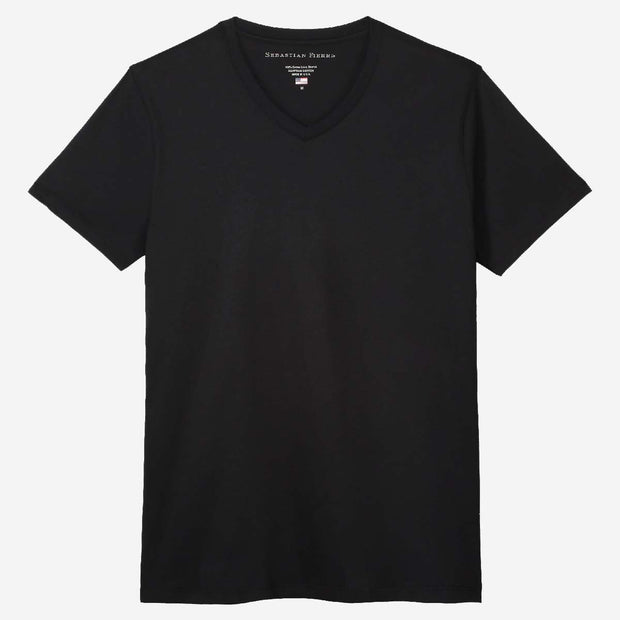 Fierri Egyptian Cotton V Neck Black T-shirt