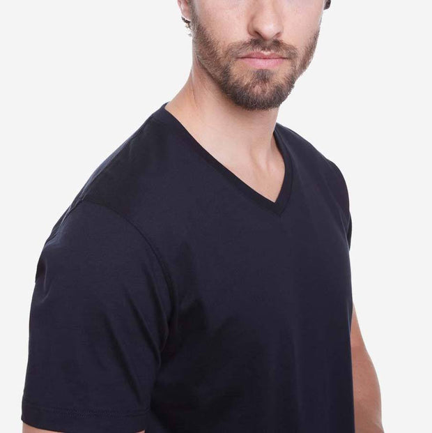 Egyptian Cotton V Neck Black T-shirt Closeup