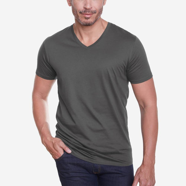 Egyptian Cotton V Neck Dark Grey Short Sleeve Fierri T shirt