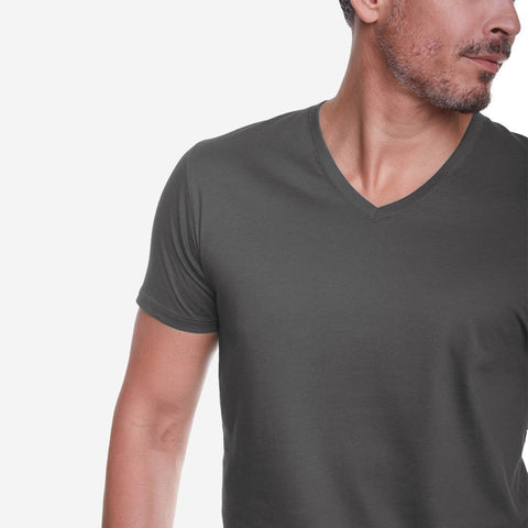 Egyptian Cotton V Neck Dark Grey T-shirt Closeup