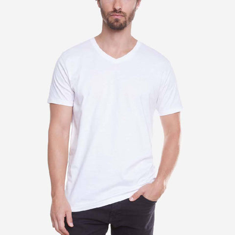 Egyptian Cotton V Neck White Short Sleeve T-shirt