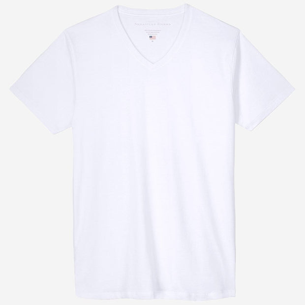Fierri Egyptian Cotton V Neck White T-shirt