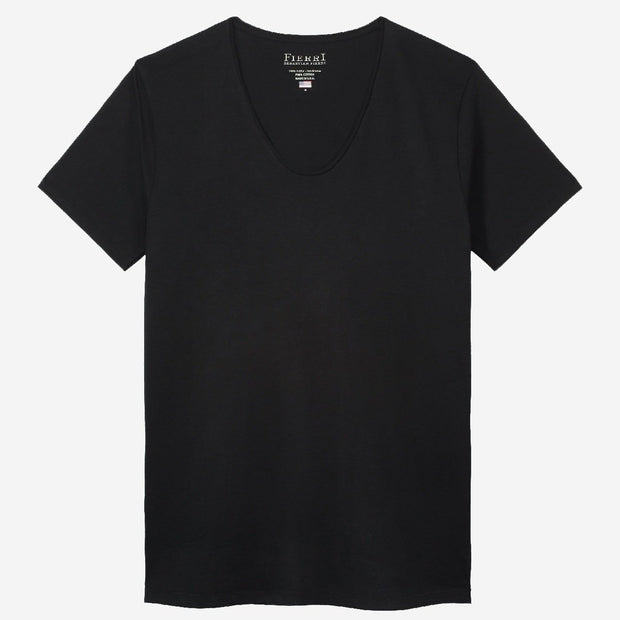 Fierri Pima Cotton Black Drop Neck T-shirt