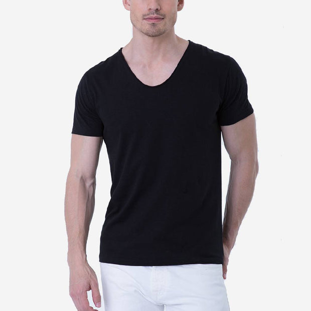 Pima Cotton Black Drop Neck Short Sleeve T-shirt
