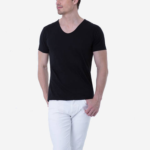 Pima Cotton Black Drop Neck Premium T-shirt
