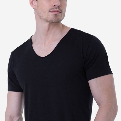 Pima Cotton Black Drop Neck T-shirt Close up