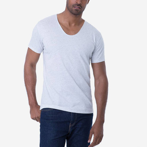 Pima Cotton Heather White Drop Neck Short Sleeve T-shirt