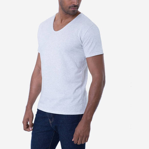Pima Cotton Heather White Drop Neck Premium T-shirt