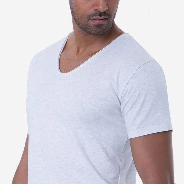 Pima Cotton Heather White Drop Neck T-shirt Closeup