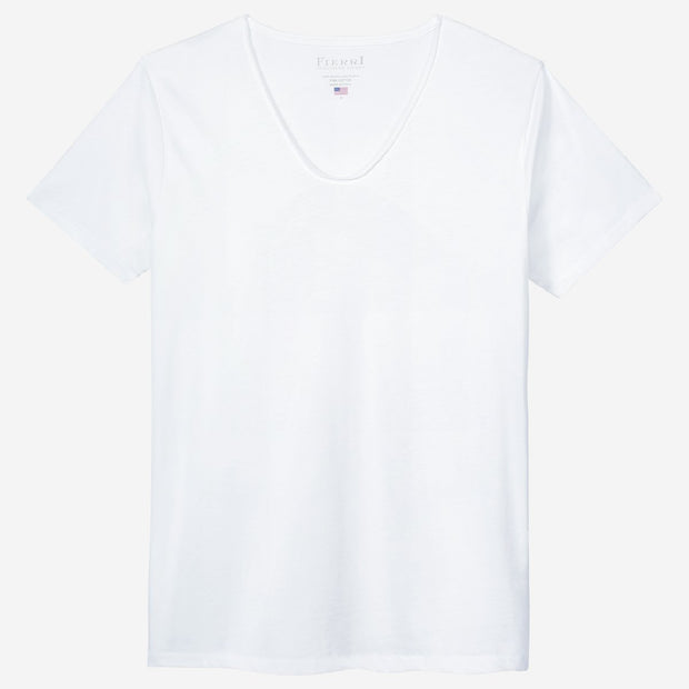 Fierri Pima Cotton White Drop Neck T-shirt