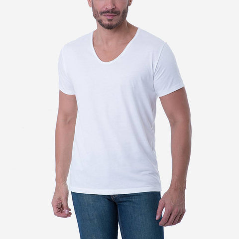 Pima Cotton White Drop Neck Short Sleeve T-shirt