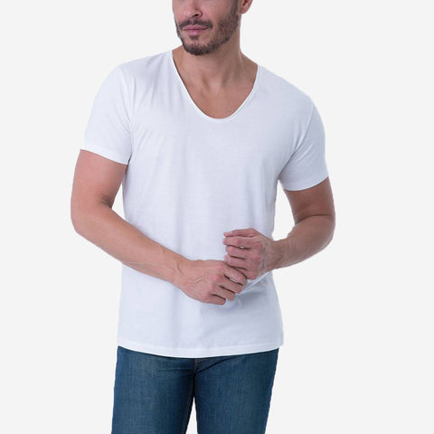 Pima Cotton White Drop Neck Premium T-shirt