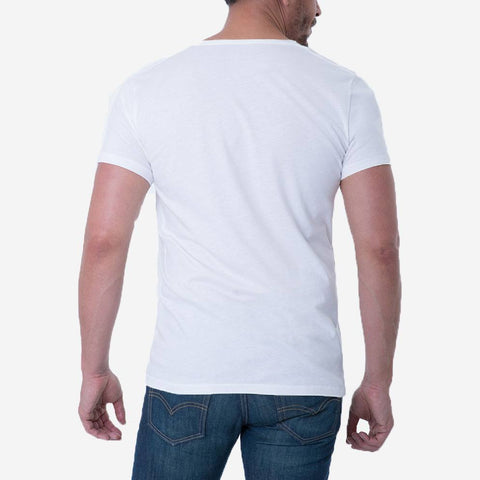Pima Cotton White Drop Neck T-shirt Back