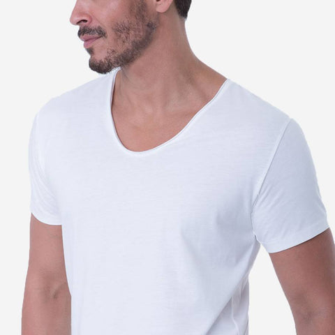 Pima Cotton White Drop Neck T-shirt Close up