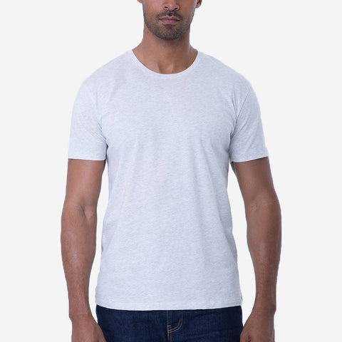 Fierri Pima Crew Neck Heather White Mens Cotton T-shirt