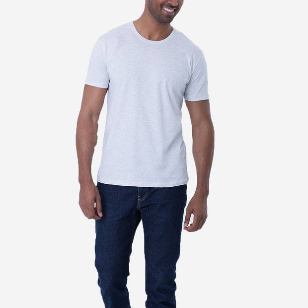 Fierri Pima Soft Cotton Crew Neck Heather White T shirt