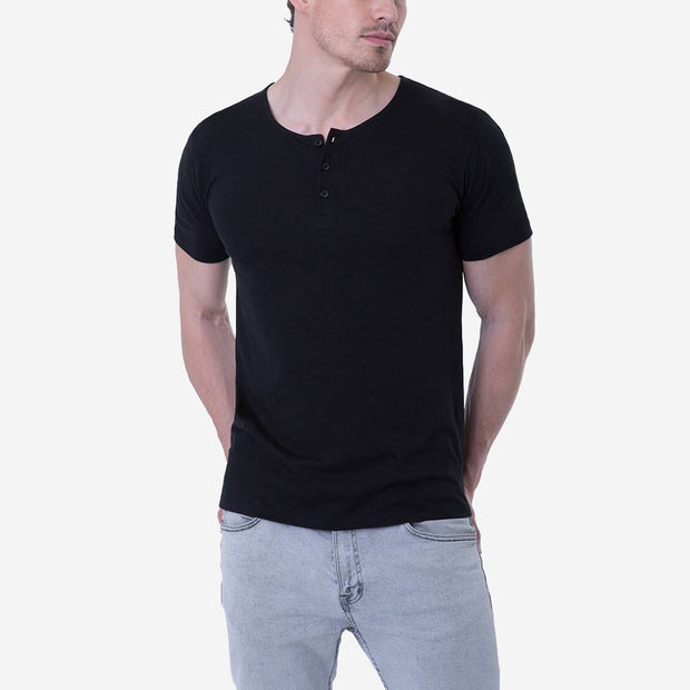 Pima Cotton Black 3 button Henley T-shirt