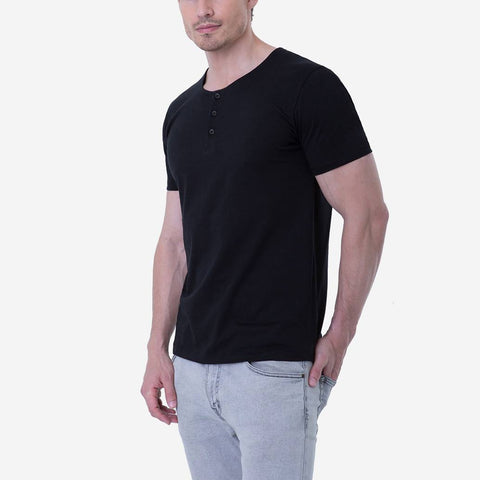 Pima Cotton Black Henley Perfect Black T-shirt