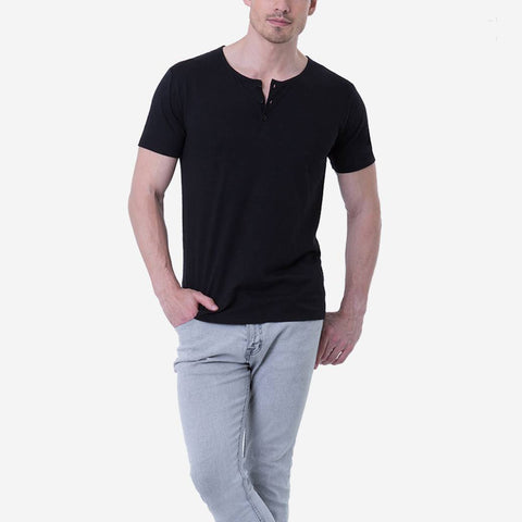 Pima Cotton Black Henley quality T-shirt