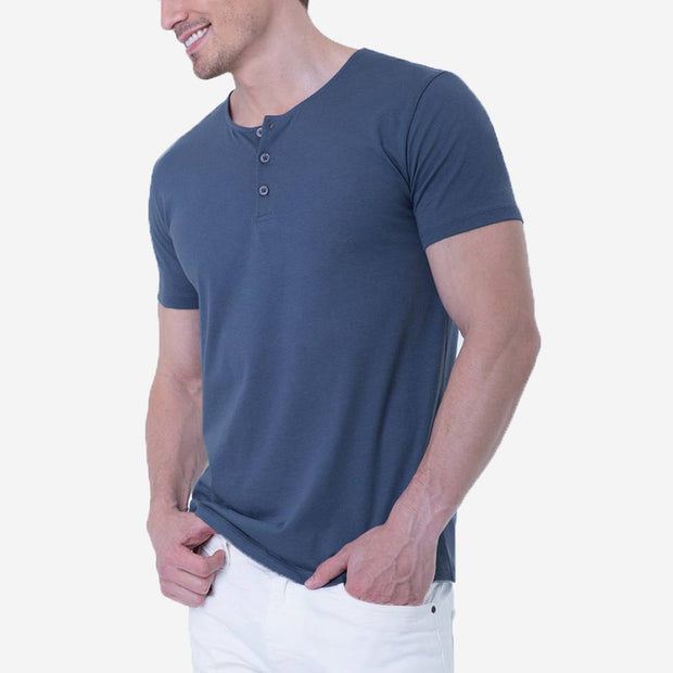 Fierri Pima Cotton Blue Henley T-shirt