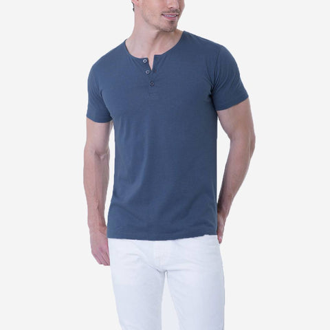 Fierri Pima Cotton Blue Henley Quality T-shirt