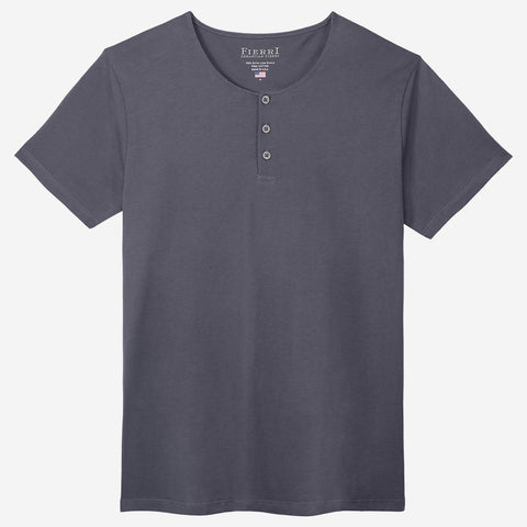 Fierri Pima Cotton Grey Henley T-shirt