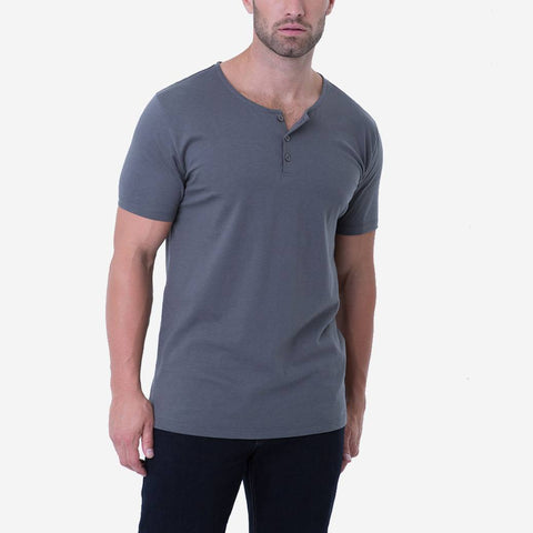Fierri Pima Cotton Grey Henley Premium T-shirt