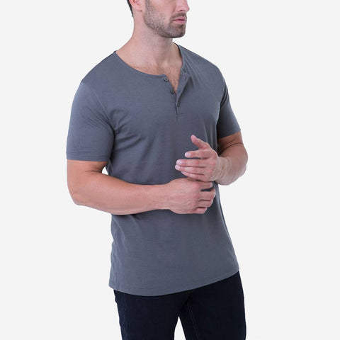 Fierri Pima Cotton Grey 3 button Henley T-shirt