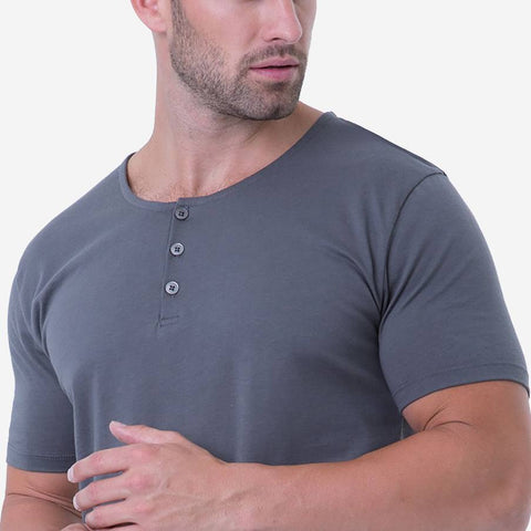 Fierri Pima Cotton Grey Henley T-shirt Close Up