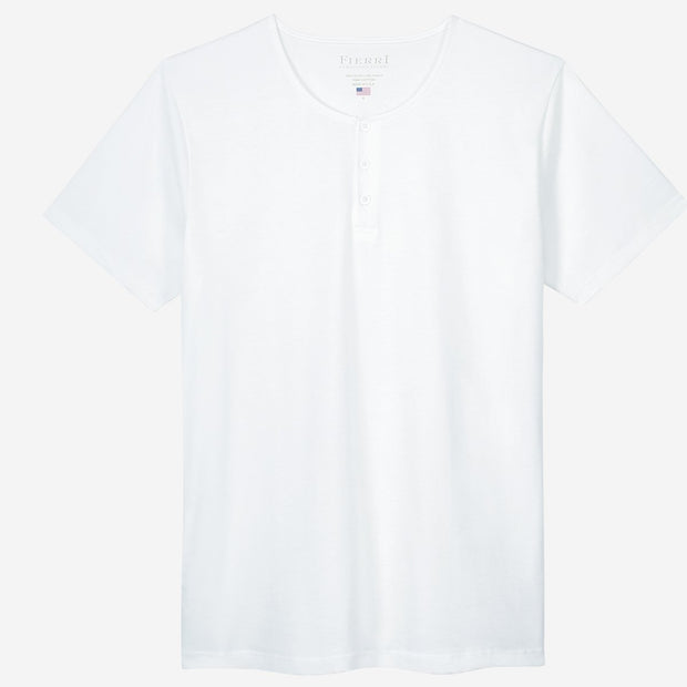 Fierri Pima Cotton White Henley T-shirt
