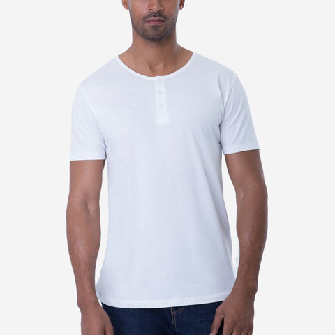 Fierri Pima Cotton White Henley Quality T-shirt