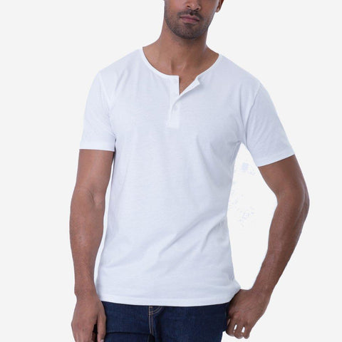 Fierri Pima Cotton White 3 button Henley T-shirt