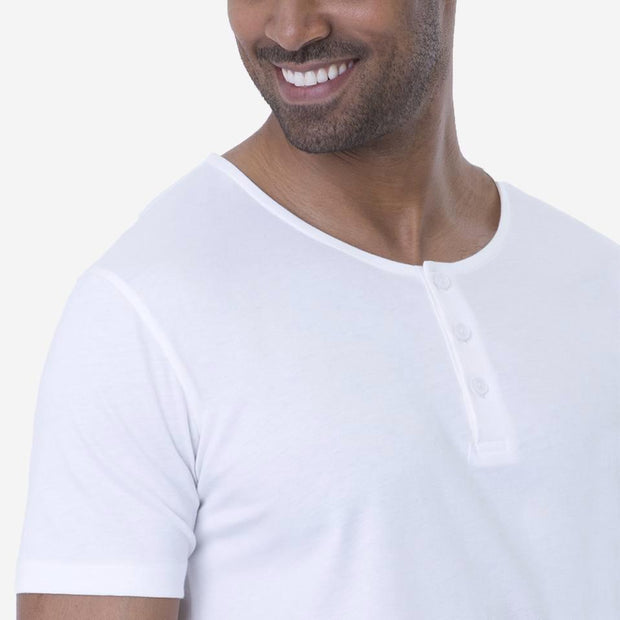 Fierri Pima Cotton White Henley T-shirt Close Up
