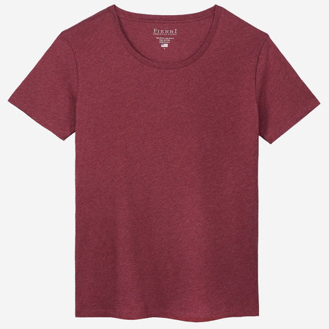 Fierri Pima Cotton Open Crew Neck Heather Burgundy T-shirt