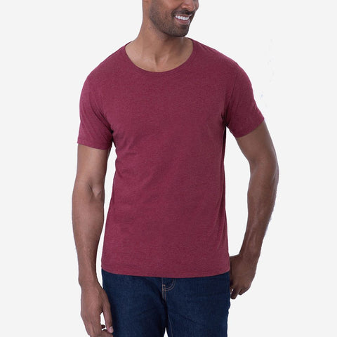 Fierri Pima Cotton Open Crew Neck Heather Burgundy T shirt