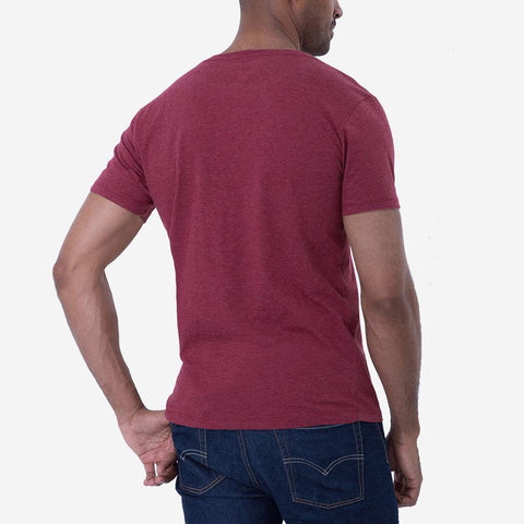 Fierri Pima Cotton Open Crew Neck Heather Burgundy T Back