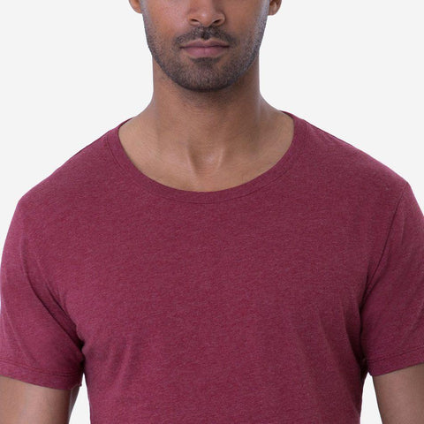 Fierri Pima Cotton Open Crew Neck Heather Burgundy T-shirt Close Up
