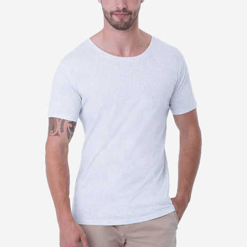 Fierri Pima Cotton Open Crew Neck Heather White Short Sleeve T-shirt