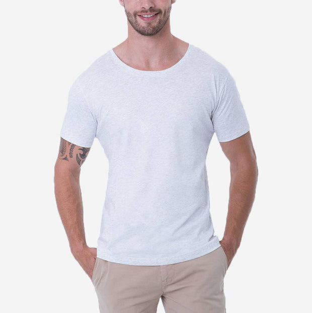 Fierri Quality Pima Cotton Open Crew Neck Heather White T-shirt