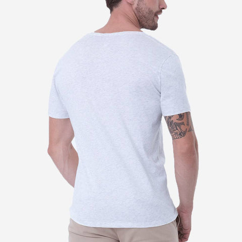 Fierri Premium Pima Cotton Open Crew Neck Heather White T-shirt