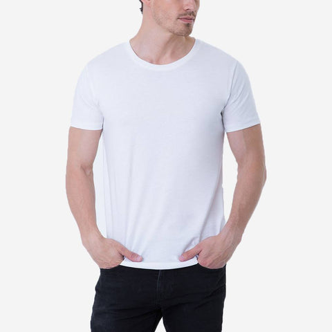 Fierri Pima Cotton Open Crew Neck White Tee