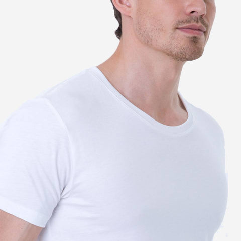 Fierri Pima Cotton Open Crew Neck White T-shirt Close up