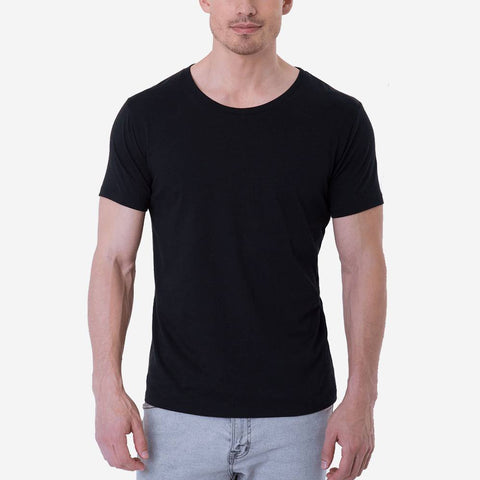 Fierri Pima Cotton Open Crew Neck Perfect  Black T-shirt